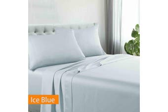 Kingtex Egyptian Cotton Sateen Luxury Sheet Set Queen - Ice Blue