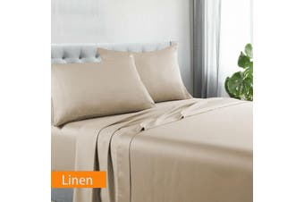 Kingtex Egyptian Cotton Sateen Luxury Sheet Set Queen - Linen