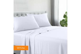 Kingtex Egyptian Cotton Sateen Luxury Sheet Set Queen - White