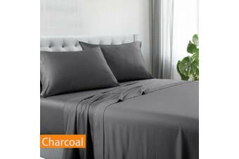 Kingtex Egyptian Cotton Sateen Luxury Sheet Set Single - Charcoal