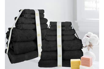 14 Pieces Ramesses Egyptian Cotton Bath Towel - Black