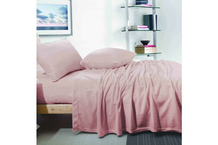 CASHMERE TOUCH FLANNEL SHEET SET  SINGLE  DUSTY PINK