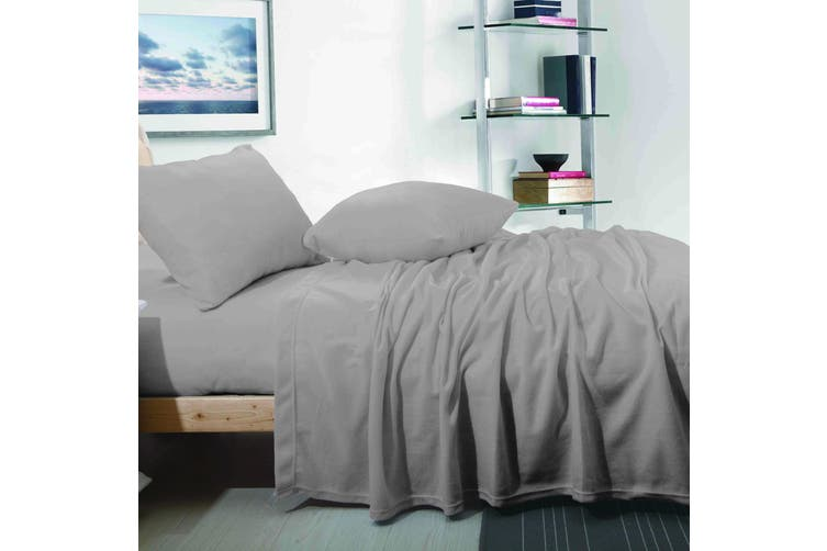 CASHMERE TOUCH FLANNEL SHEET SET  SINGLE  GREY