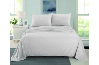 CASHMERE TOUCH FLANNEL SHEET SET  SINGLE  SILVER