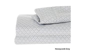 PRINTED COTTON SHEET SET HONEYCOMB QUEEN GREY