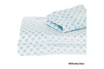PRINTED COTTON SHEET SET WILLOWBY SINGLE BLUE