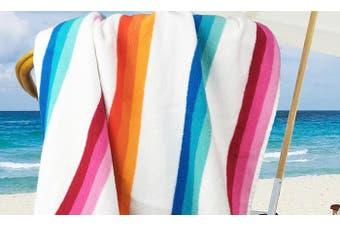 Jacquard Multi Stripe Large Beach Towel 100x180 Bright 2 pieces