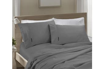 Ramesses 1200TC SILVER EGYPTIAN COTTON SATEEN SHEET SET -Super Queen Charcoal