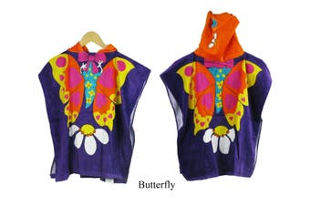 Kids Beach Hooded  Towelling Poncho Butterfly(Twin Pack)