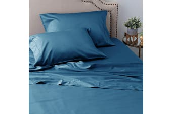 Ramesses Sustainable and Ultra-soft All-Natural Comfort Organic 100% Tencel Sheet Set 1200TC King Single Classic Blue