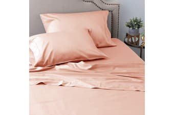 Ramesses Sustainable and Ultra-soft All-Natural Comfort Organic 100% Tencel Sheet Set 1200TC King Single Dusty Pink