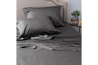 Ramesses Sustainable and Ultra-soft All-Natural Comfort Organic 100% Tencel Sheet Set 1200TC Single Charcoal