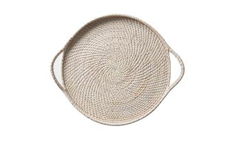 Salisbury & Co Rattan Tray 45cm White