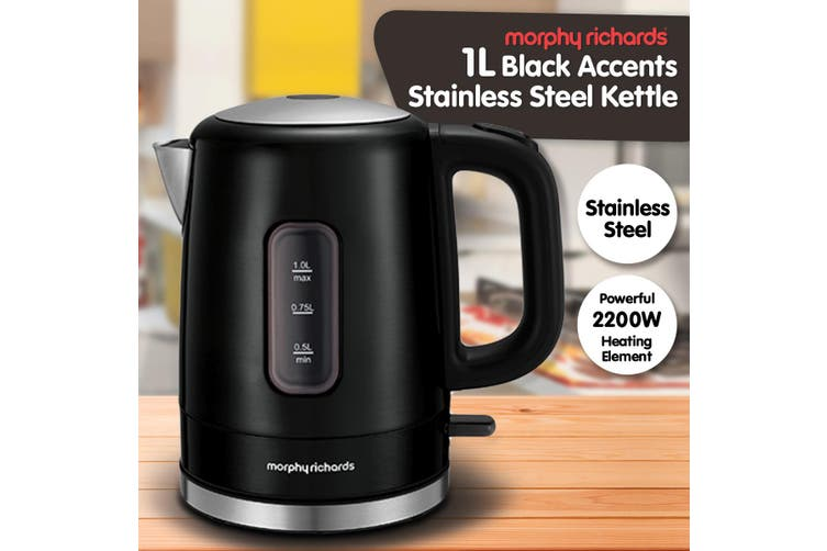 Morphy Richards 1L Accents Stainless Steel Electric Kettle Black