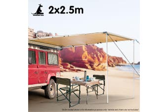 Wallaroo 2m x 2.5m Car Side Awning Roof Top Tent - Sand