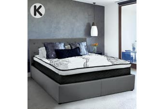 King Fabric Gas Lift Bed Frame with Headboard - Dark Grey