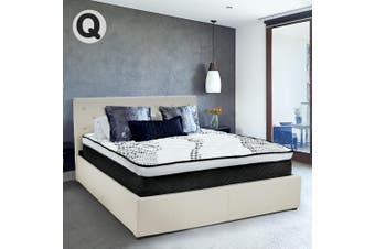 Queen Fabric Gas Lift Bed Frame with Headboard - Beige