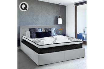 Queen Fabric Gas Lift Bed Frame with Headboard - Grey