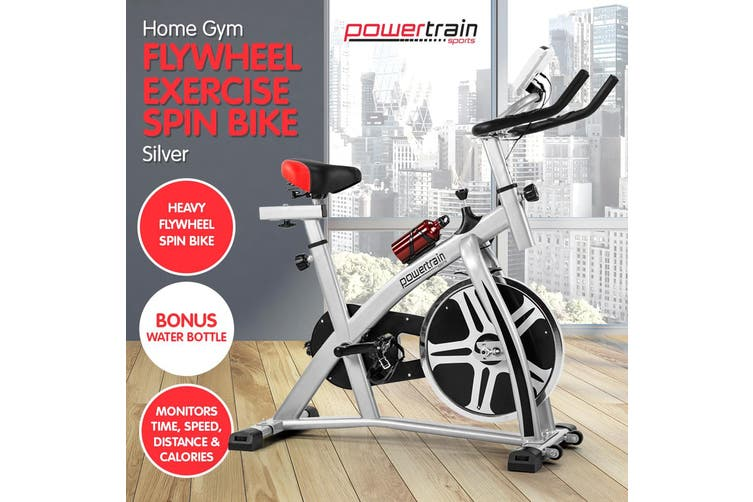Powertrain Heavy Flywheel Exercise Spin Bike - Silver