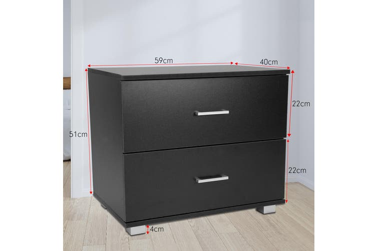 Bedside Table with Drawers MDF Wood - Black