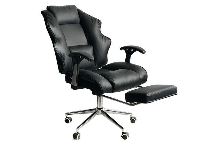 Dick Smith Faux Leather High Back Reclining Executive Office Chair W Stool Black Office Chairs