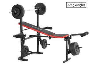 Powertrain Home Gym Workout Bench Press with 67kg Weights