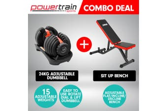Powertrain 24kg Adjustable Dumbbell Home Gym Exercise Bench Weights
