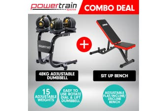 2x Powertrain 24kg Adjustable Dumbbells w/ Stand Exercise Bench Gold