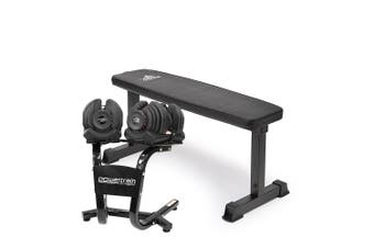 2x 40kg Powertrain Adjustable Dumbbells and Stand w/10437 Adidas Bench