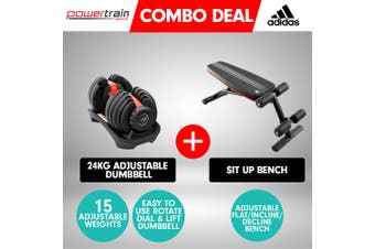 Powertrain 24kg Adjustable Dumbbell w/ Adidas 10230 Exercise Bench