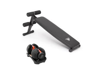 Powertrain 24kg Adjustable Dumbbell w/ Adidas 10433 Exercise Bench