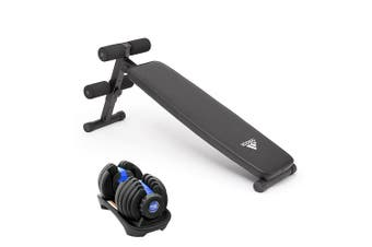 Powertrain 24kg Adjustable Dumbbell w/ Adidas 10433 Bench - Blue