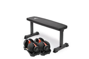 2x Powertrain 24kg Adjustable Dumbbell Home Gym w/ 10437 Adidas Bench
