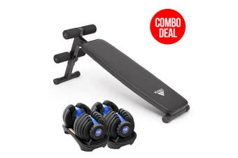2x Powertrain 24kg Adjustable Dumbbells with Adidas 10433 Bench - Blue