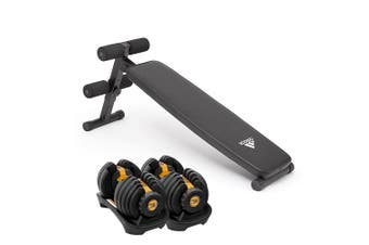 2x Powertrain 24kg Adjustable Dumbbells with Adidas 10433 Bench - Gold