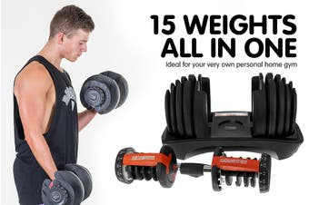 2x Powertrain 24kg Adjustable Dumbbells w/ Stand Adidas 10433 Bench