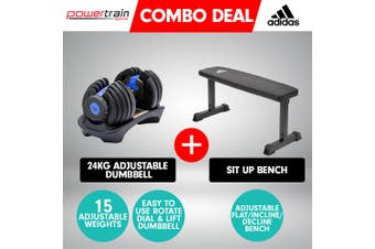 Powertrain 24kg Blue Adjustable Dumbbell w/ Adidas 10437 Adidas Bench