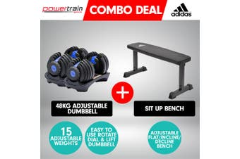 2x Powertrain 24kg Blue Adjustable Dumbbell  w/ 10437 Adidas Bench
