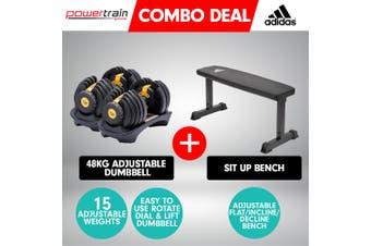 2x Powertrain 24kg Gold Adjustable Dumbbell Gym w/ 10437 Adidas Bench