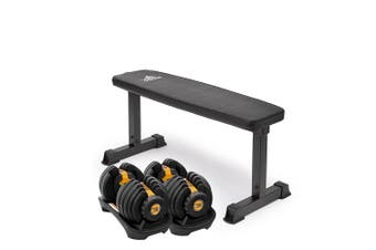 2x Powertrain 24kg Gold Adjustable Dumbbell Gym w/ 10437 Adidas Bench