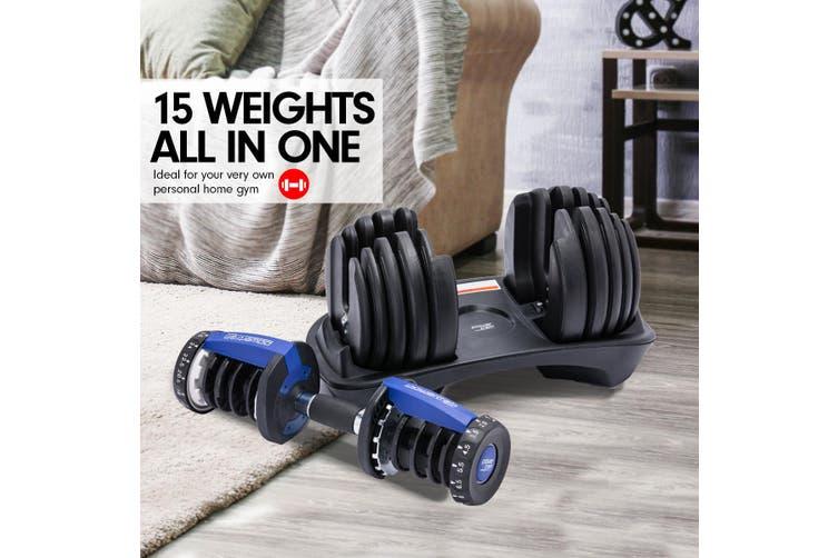 48kg Powertrain Adjustable Dumbbell Home Gym Set Blue