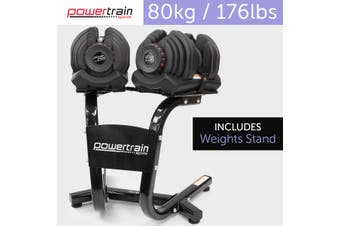 80kg Powertrain Adjustable Dumbbell Set With Stand