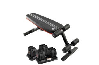 2x 20kg Powertrain Adjustable Home Gym Dumbbells w/ 10230 Adidas Bench