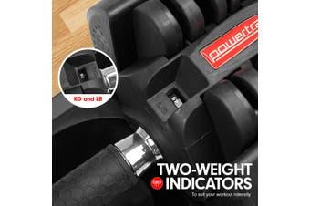 2x 20kg Powertrain Adjustable Home Gym Dumbbells w/ 10437 Adidas Bench