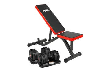 2x 20kg Powertrain Adjustable Dumbbells Home Gym with Bench
