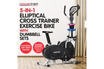 Elliptical Cross Trainer Exercise Bike w/ Dumbbells Resistance Bands