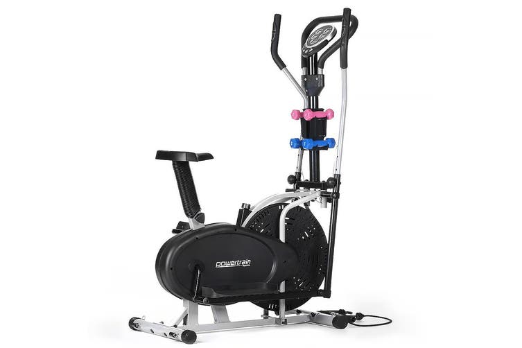 Elliptical Cross Trainer Exercise Bike w/ Dumbbells Resistance Bands