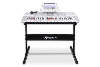 Karrera 61 Keys Electronic LED Keyboard Piano with Stand - Silver