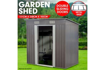 4ft x 8ft Garden Shed with Base Flat Roof Outdoor Storage - Grey