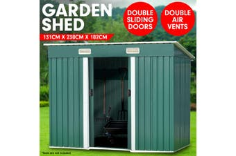 4ft x 8ft Garden Shed Flat Roof Outdoor Storage - Green